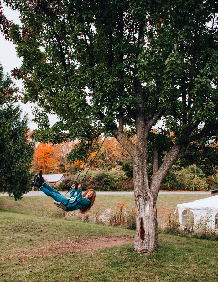 Swing at Firelight Camps in Ithaca