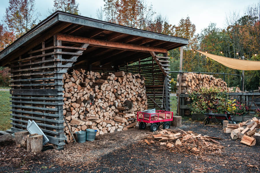 Logs at Firelight Camps in Ithaca