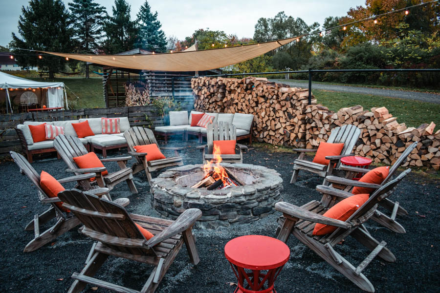 Fire Pit at Firelight Camps in Ithaca