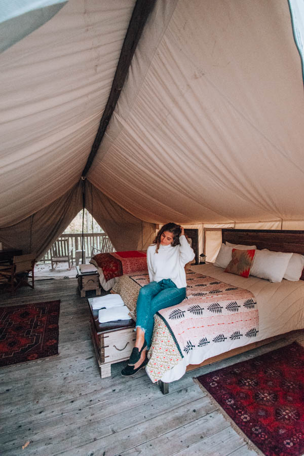 Inside tend at Firelight Camps