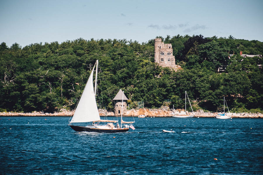 Things to do in Cape Ann MA - sailboat and Hammond Castle