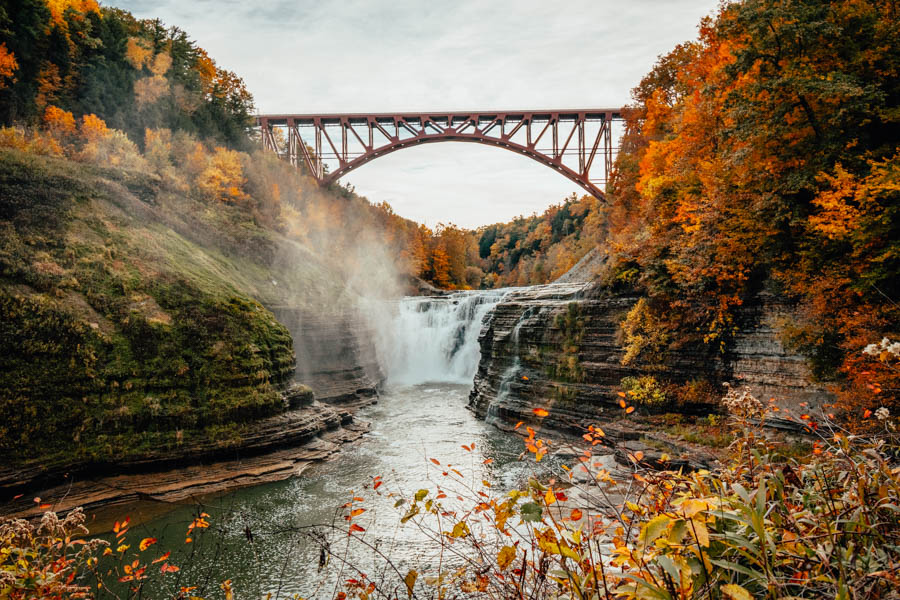 Upper Falls Letchworth State Park in Fall