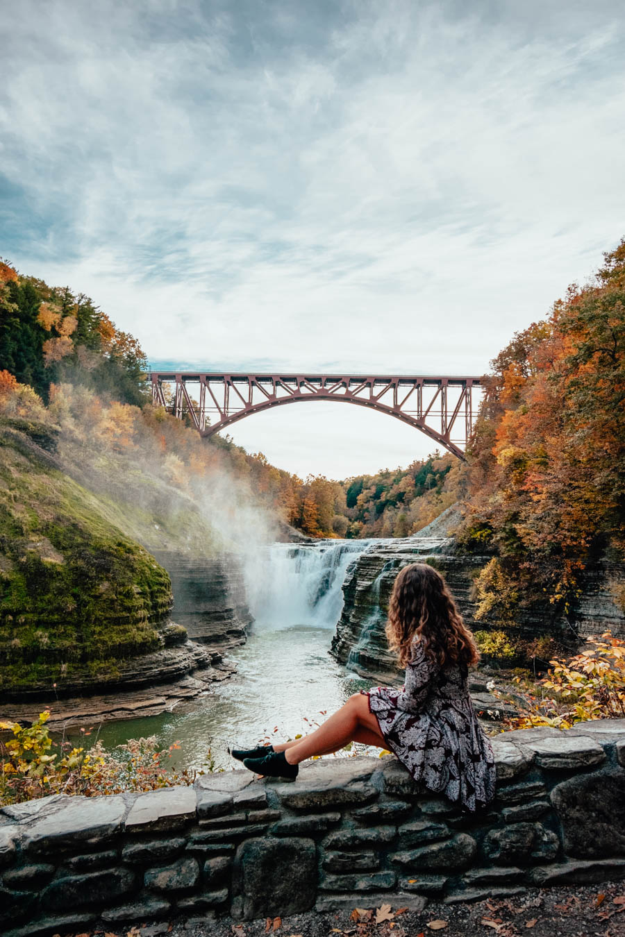 Girl at upper Falls in Letchworth State Park
